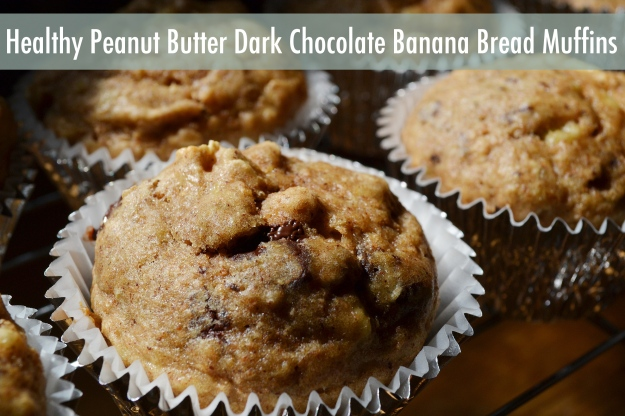 Healthy Peanut Butter Dark Chocolate Banana Bread Muffins