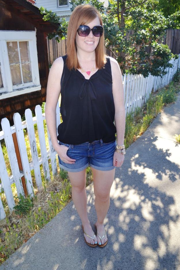Black tank and denim shorts