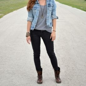 Jeans and combat boots