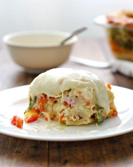 Source Veggie alfredo lasagna