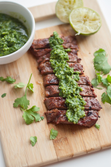 Source Cilantro lime skirt steak with chimichurri sauce